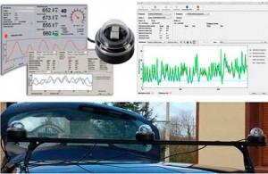 Equipo para realizar las medidas dinámicas del nivel de iluminación: sondas y montaje horizontal, software de toma de datos y gráfica resultados brutos obtenidos.