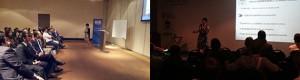 Dcha: Jornada en Copiapó (Chile) para dar a conocer la nueva norma lumínica. Izq: Congreso iluminación LUXAMERICA (Cartagena de Indias).