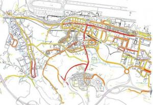 Mapa Lumínico de los niveles de iluminancia promedio, Em (lux), en cada una de las calles obtenido tras el tratamiento específico en GIS.