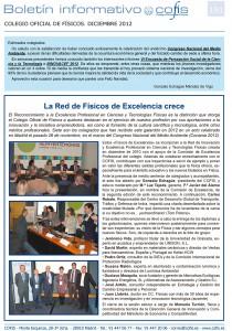 Boletin COFIS Colegio Oficial de Físicos diciembre 2012