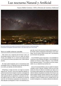 Luz nocturna natural y artificial. Hacia un modelo realmente  sostenible.