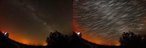Cielo estrellado: fotografía con exposición de 30 s (izda.) y suma de tomas de 30s durante 4 horas (dcha.), donde se dibuja el movimiento aparente del cielo nocturno durante la noche