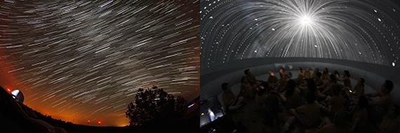 Estelas del movimiento nocturno del cielo (izda.) y viaje entre las estrellas en el PLANETARIO (dcha.)