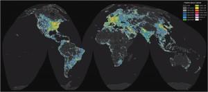 Atlas del brillo artificial del cielo nocturno producido por el alumbrado exterior