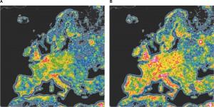 contaminación lumínica Europa evolución con led azul