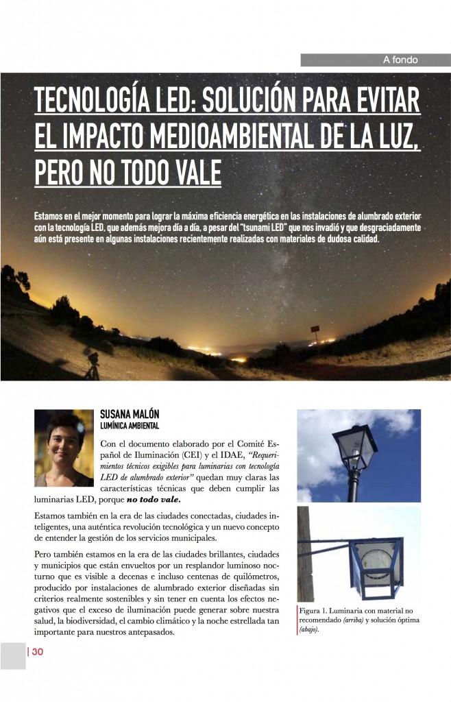 Artículo sobre la tecnología LED par evitar la contaminación lumínica, pero NO TODO VALE