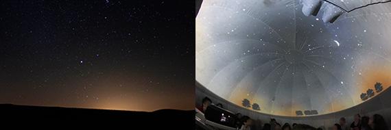 Resplandor luminoso nocturno de la luz artificial: imagen real (izda.) y en PLANETARIO (dcha.)