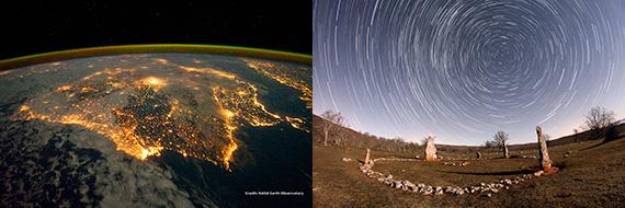 Iluminación artificial de la penísula que genera contaminación lumínica vista desde el espacio (izda.)  y cielo estrellado con luna llena sobre un yacimiento arqueológico (dcha.)