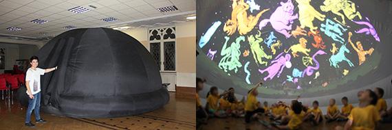 Exterior del PLANETARIO FULL DOME 360º (izda.) e interior durante una sesión (dcha.)